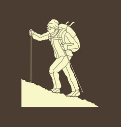 a man hiking on the mountain graphic vector image