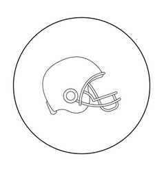 American football helmet icon in outline style vector