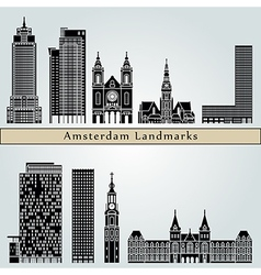 Amsterdam V2 landmarks and monuments vector image