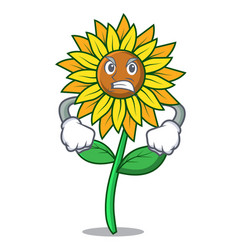 Angry sunflower mascot cartoon style vector