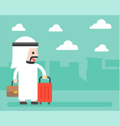 arab businessman and luggage on city background vector image