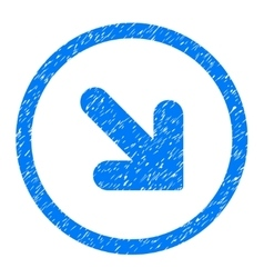 Arrow Down Right Rounded Icon Rubber Stamp vector image