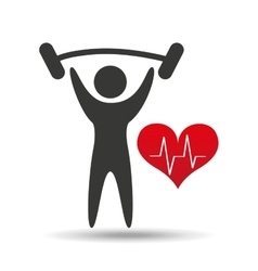 athlete silhouette lift barbell heart vector image