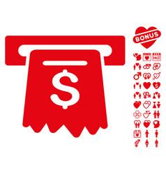 atm icon with love bonus vector image