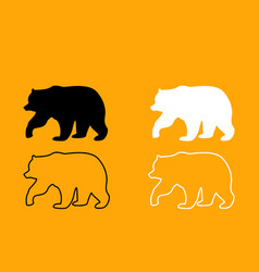 Bear black and white set icon vector