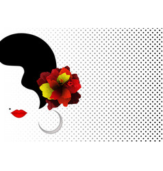 beautiful spanish or latin woman silhouette vector image