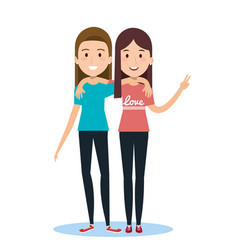 Best friends two girls happy standing vector