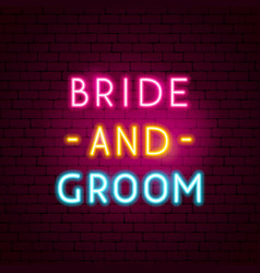 bride and groom neon sign vector image