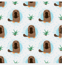 Cartoon platypuses abstract animal seamless vector