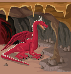 Cave interior background with dragon greek vector