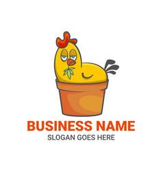 Chicken vase cartoon logo with marijuana vector