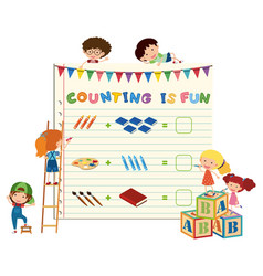 Children counting mix concept vector