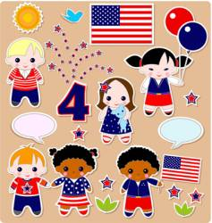 children set fourth of July vector image