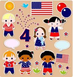 Children set fourth of July vector