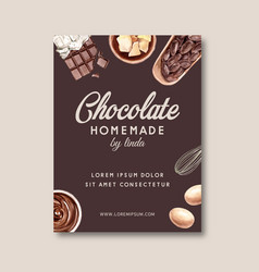 Chocolate poster design with ingredients making vector