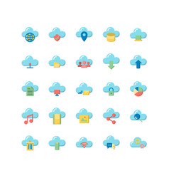 cloud computing flat icon set vector image