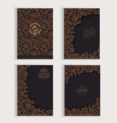 coffee beans cover design set vector image