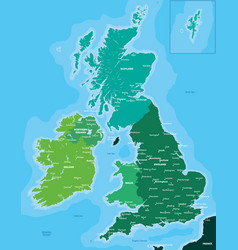 Color map of great britain and ireland vector