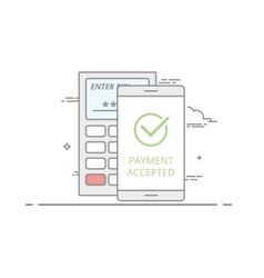 Concept contactless payment using a mobile vector