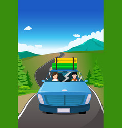 Couple riding a car going on a road trip vector