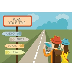 Couple tourist reading map and direction sign vector