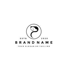 Creative design initials letter p dog vector