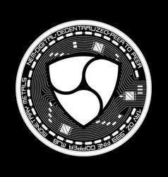 crypto currency nem black and white symbol vector image