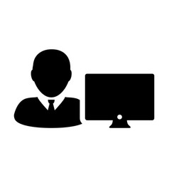 Customer icon male person user with computer vector