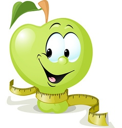 Cute apple smiling with tape measure - vector