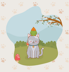 Cute little kitty and parrot mascots vector
