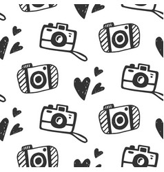 cute photo camera seamless pattern vector image