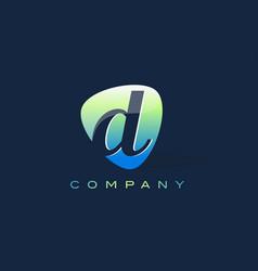 D letter logo oval shape modern design vector