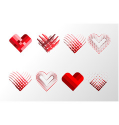 decorative valentines hearts set happy valentine vector image