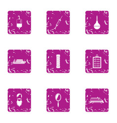 delivery of cure icons set grunge style vector image
