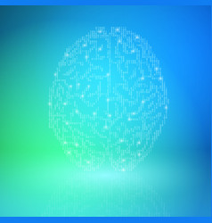 digital brain on blue background artificial vector image