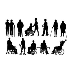 disabled people silhouettes vector image