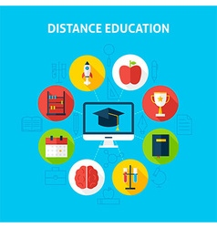 Distance education infographic concept vector
