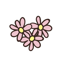 doodle flowers in shape of heart vector image