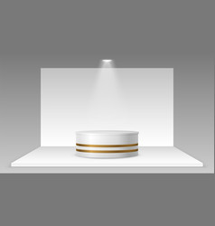 empty stand with light realistic pedestal vector image