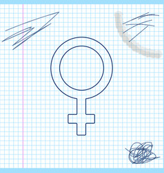 female gender symbol line sketch icon isolated on vector image