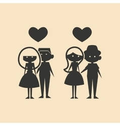 Flat in black and white mobile application couples vector
