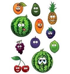 Fresh happy cartoon fruits characters vector