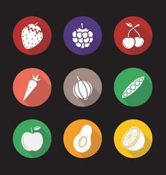 Fruit berries and vegetables flat design long vector