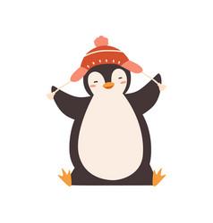 Funny baby penguin enjoying winter season vector