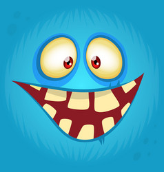 Funny smiling cartoon monster face avatar vector