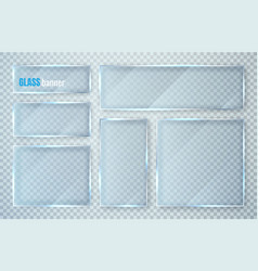 glass plates set banners on transparent vector image