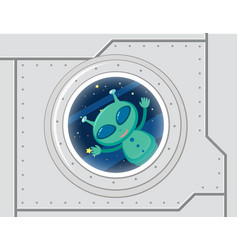 Green alien in space vector