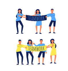 group colleagues holding a placard teamwork vector image