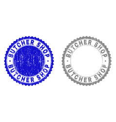 grunge butcher shop textured stamp seals vector image