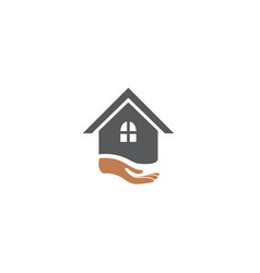 hand and home logo design vector image